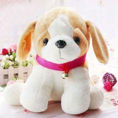 Lovely Stuffed Animal Soft Plush Dog Doll with Neck Bell for Childrenat EVToys.com