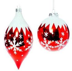 RAZ Imports - Red & White Glass Ball and Drop Snowflake Ornaments