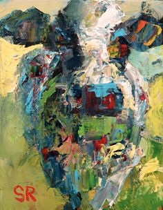 Cow Painting Farm Animal Art 'Elsie' Original 11 x 14 Landscape Knife Texture Modern Colorful and Bold Acrylic