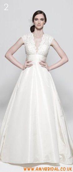 V-Neck A-line Taffeta Lace Bridal Dress 2011