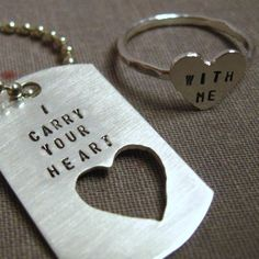 cute dog tag ring idea..boyfriend/girlfriend anniversary or maybe a christmas gift? Id make the cut out into a necklace for me.