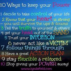 10 Ways to keep your power http://SaturdayMorningMastermind.com