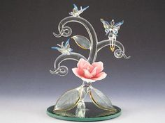 **NEW**Spun glass fairy with butterfly friends on mirrored base **FREE SHIPPING** $45.00