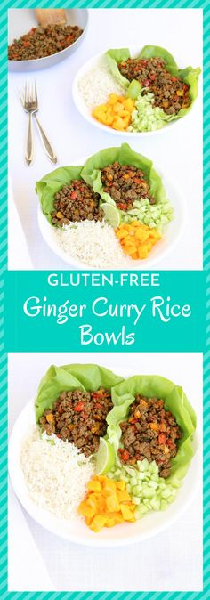 Bursting with flavor, these ginger curry rice bowls are the perfect blend of a lettuce wrap and rice bowl with cool cucumber and mango balancing out the slight spice of the curried meat and rice. These would work well with any ground meat and are easy to whip up any night of the week. Curry Rice, Ground Meat, Rice Bowls, Curry Powder, Lettuce Wraps, Gluten Free Recipes, Cucumber, Spice, Salads