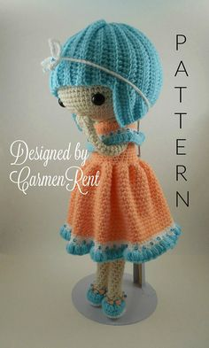 ATTENTION - Keep in mind that this is a crochet pattern in a PDF. This is NOT the finished product. Camille is approximately 17 inches tall. Also, please keep in mind that this doll cannot stand up on its own. Her hair, clothes, underwear, and shoes are removable. This is a non-refundable purchase. Once the payment has been confirmed you will be allowed to download the pattern in a PDF. The language in the pattern is in English only. The pattern includes all of the yarn colors I used for ...