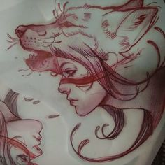 Girl-Head-On-Wolf-Angry-Face-Tattoo-Stencil.jpg (640×640)