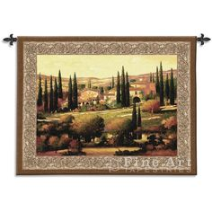 TUSCAN GOLD WALL TAPESTRY COUNTRYSIDE PAINTING TUSCANY