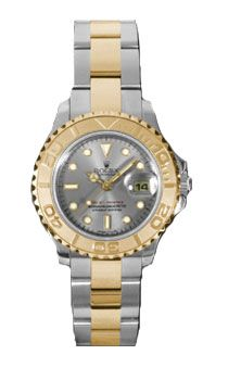 a2fb2fdfcfe Rolex Yacht Master Grey Dial Two Tone 18kt Yellow Gold 29 MM Ladies Watch   8091.00