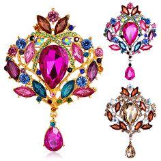 New Fashion  Women's Multicolor Water Drop Rhinestone Crystal Wedding Bridal Alloy Pin Brooch  6SLJ♦️ SMS - F A S H I O N 💢👉🏿 http://www.sms.hr/products/new-fashion-womens-multicolor-water-drop-rhinestone-crystal-wedding-bridal-alloy-pin-brooch-6slj/ US $1.88