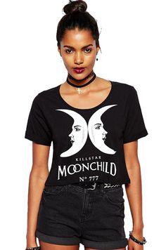 Moon Letters Print Crop T-ShirtFor Women-romwe 88a01ee1b30c