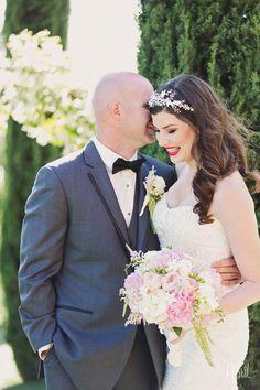 bride and groom at Falkner Winery