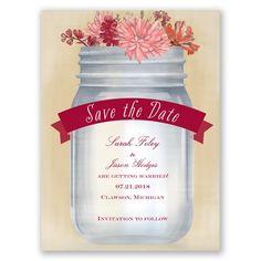 Vintage Canning Jar Save the Date - in Apple #SummerWeddings #MasonJars #WeddingInvitations