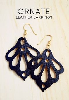 black color leather earrings