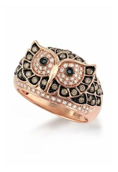 Jardin Critters Rose Gold Diamond Owl Ring, .72 TCW