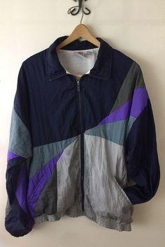 Vintage 80s/90s Todd1 Lined Windbreaker Track Jacket sz L Nylon Blue Purple Gray    eBay