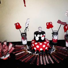 Minnie n Mickey Mouse Birthday party theme.