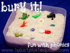 Bury It! Fun with phonics in a rice sensory bin...easy, simple, fun learning!
