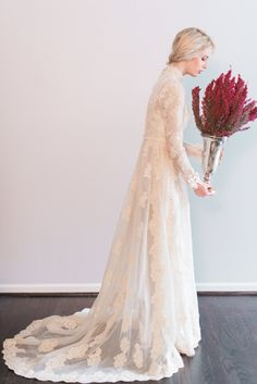Etsy wedding dress with long lace sleeves