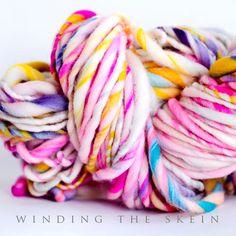 Handspun yarn JUBILEE 72 yards multi color hand dyed superwash merino wool