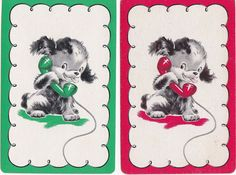 E4 VINTAGE swap playing cards PUPPY ON THE TELEPHONE linen finish
