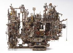 Alfred Corrine Marie - ACM - builds architectural forms from small parts of old typewriters, clocks & electronic parts Creative Thinking Skills, Aesthetic Objects, Alberto Giacometti, Boat Art, Art Brut, Naive Art, Outsider Art, Wood Sculpture, Famous Artists