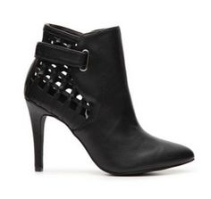 Shoe-tensity: Black Leather Braid Square Cut Out Ankle Buckle High Heel Bootie Boot Shoe