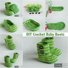 GREEN ZEBRA – Crochet Baby Booties FREE More