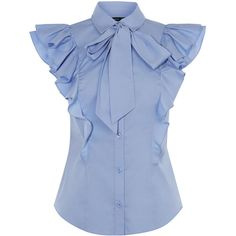 PUSSY-BOW FRILL SHIRT ($155) ❤ liked on Polyvore featuring tops, blouses, cotton shirts, ruffle shirt, cocktail blouses, blue ruffle shirt and cotton blouse