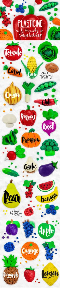 Plasticine Fruits & Vegetables by Anna on Creative Market