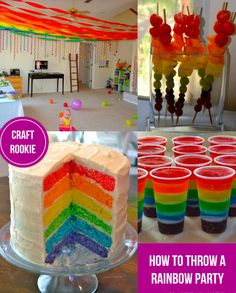 Craft Rookie: How to Throw a Rainbow Party- this pin is for starri your little sister who loves rainbows