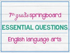 Ideas to help teach the springboard curriculum by the college board this pdf file includes eight posters two eseential questions per unit these essential questions correspond fandeluxe Gallery