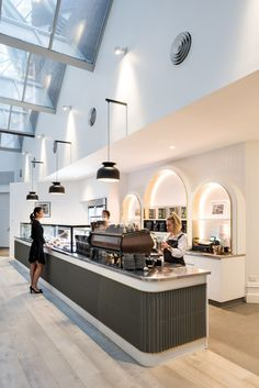 Historical Hotel Lobby Characterizes this Contemporary Café in Perth Cafe Shop Design, Restaurant Interior Design, Shop Interior Design, Retail Design, Shop Counter Design, Commercial Design, Commercial Interiors, Architecture Restaurant, Architecture Design