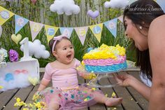 Outdoor Cake Smash, Cloud Party, 1st Birthday Girls, Minnie, First Photo, First Birthdays, Arya, Photos, Toddler Birthday Pictures