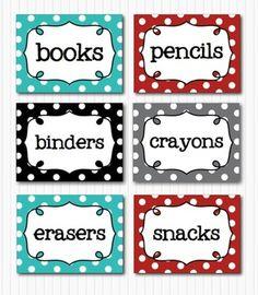 EDITABLE POLKA DOT BLANK MULTIPURPOSE TAGS CLASSROOM LABELS 9 BRIGHT COLORS - TeachersPayTeachers.com