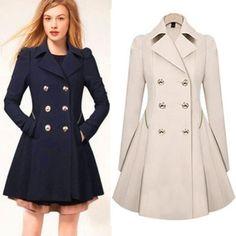 Women-Coat-Double-Breasted-Windbreaker-Jacket-Peacoat-Long-Outerwear-Trench-Coat