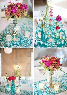 teal and pink wedding | personalização pode ser feita através de monogramas ou estampas ...