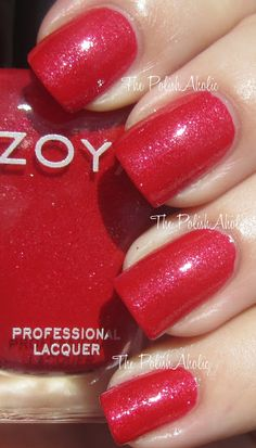 Zoya Nidhi- a pretty shade, but it didn't wow me. I was expecting a rich red, but it really really leans more strawberry. Average wear time, needs acetone for removal.