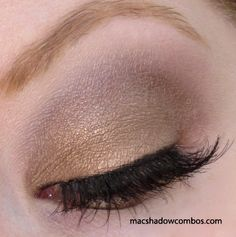 MAC eyeshadows used: Patina (all over lid, below crease); Satin Taupe (crease); Vanilla (highlight and blend).