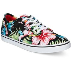 Vans Women's Atwood Low Aloha Lace-Up Sneakers (350 VEF) ❤ liked on Polyvore featuring shoes, sneakers, black floral, black trainers, lacing sneakers, black floral shoes, black lace up shoes and vans shoes