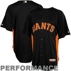 Majestic San Francisco Giants Batting Practice Performance Jersey - Black-Orange