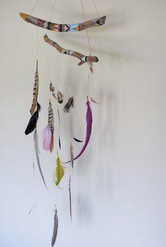 Dreamcatcher Mobile :: feathers :: branches :: color :: bohemian :: wall hanging :: art :: craft :: home décor :: inspiration @aumandamen