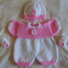 Springtime romper set for doll or tiny baby Knitting pattern by Daisy Gray Knits Baby Doll Clothes, Crochet Doll Clothes, Knitted Dolls, Doll Clothes Patterns, Baby Set, Onesie Pattern, Baby Girl Patterns, Romper Suit, Crochet Bebe