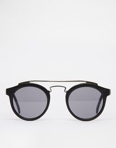ASOS | ASOS Round Sunglasses with Metal Brow bar at ASOS
