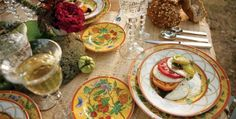 Burlap tablecloth with pottery dishes