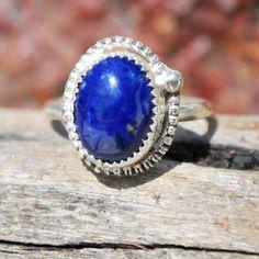 Lapis Lazuli Ring - Lapis Ring - Genuine Lapis Ring - Sterling Silver Ring - Blue Gemstone Ring - Blue Ring - Lapis Silver Ring - Size 7.5 by EarthsBountyGems on Etsy