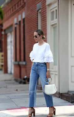 Eyelet blouse with light blue jeans //
