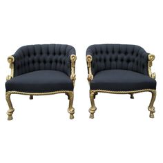 Pair Rope & Tassel Tufted Chairs