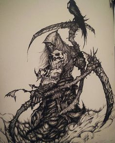 Riders of the Apocalypse (Death) by Caglayan Kaya Goksoy on ArtStation. fan redesign for the riders of Darksiders. Dark Art Drawings, Tattoo Design Drawings, Arte Horror, Horror Art, Reaper Drawing, Arte Lowrider, Grim Reaper Art, Apocalypse Art, Apocalypse Tattoo