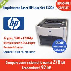 Oferta zilei! Imprimanta HP LaserJet 1320D la numai 278 lei! Economisesti 92 de lei!