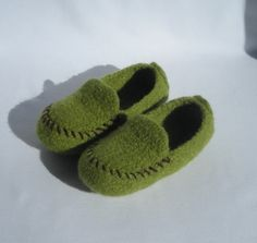 handknit and felted moccasins